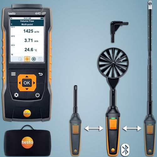 testo 440 dP Virtaussetti 2 Bluetoothilla